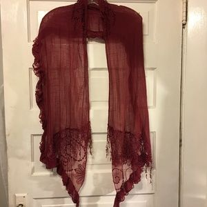 Scarf Wrap Sheer Crochet & Ruffle Accent Deep Wine